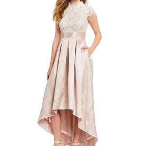 Eliza J High Neck Beaded High Low Dress